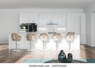 Empty clean white kitchen with island and barstools 3d render