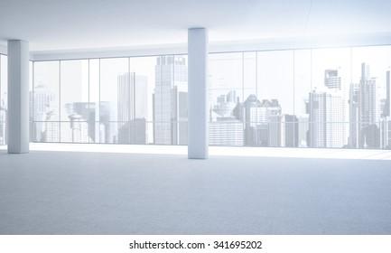 Leeres, weißes Büro mit Aussicht