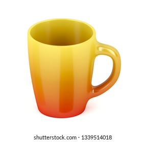 Empty colorful ceramic mug on white background, 3D illustration