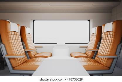 Empty Comfortable Modern Orange Color Leather Armchairs Inside Business Class Cabin Fast Speed Train.White Window Generic Design Interior Background.Blank Canvas Travel Message.Mockup.3d rendering