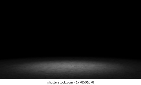 Empty concrete floor of dark studio with gradation of lighting from spotlight. Workspace for product display and advertise on social media. 3D illustration