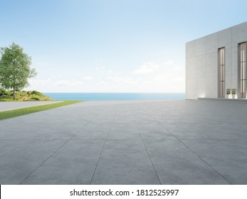 Empty concrete floor and gray wall building. 3d rendering of large beach house with clear sky sea background.
