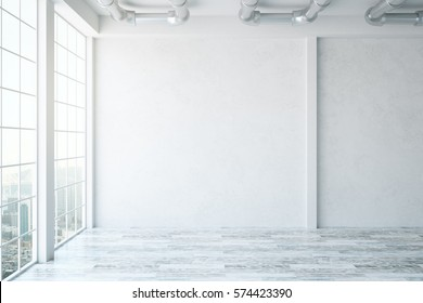 Empty concrete interior with panoramic city view and blank wall. 3D Rendering