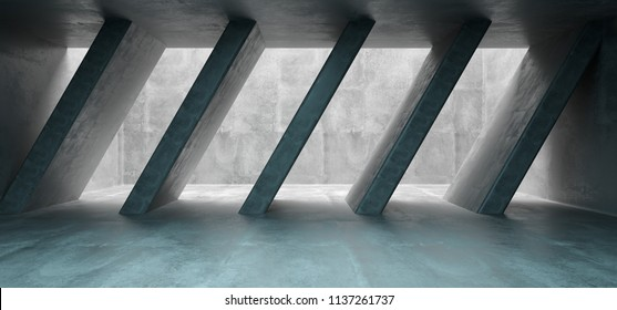 Empty Concrete Room With Ceiling Hole Shining Light Through It And Concrete Columns Inside With Blue Light At Background 3D Rendering Illustration