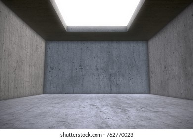Empty Concrete Room with Skylight Celling Window. Architectural Construction Background. 3D Illustration. Empty Chamber.