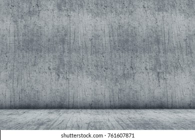 Empty Concrete Room Studio Backdrop. Construction Background. 3D Illustration.