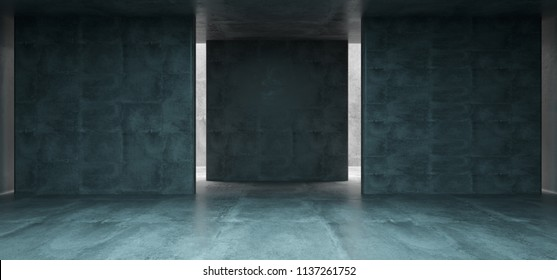 Empty Concrete Room With Sunlight At Background And Three Concrete Empty Walls For Text 3D Rendering Illustration