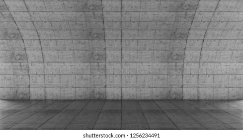 Empty concrete space with curve wall. Abstract Modern blank showroom with floor. Future concept background. 3d rendering.