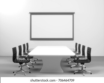 Empty conference room in 3d