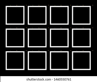 Empty contact sheet of colour negative or black and white  film on traditional photo paper. Template to be fill filled