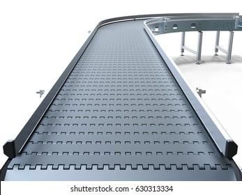 Empty conveyor belt on white background 3D rendering