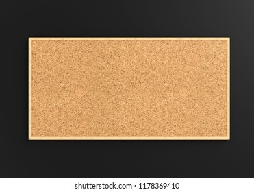 Empty cork board (noticeboard) isolated on white on gray background. Mockup template - 3D rendering