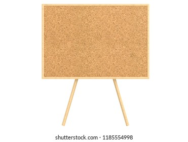 Empty cork board (noticeboard) isolated on white. Mockup template - 3D