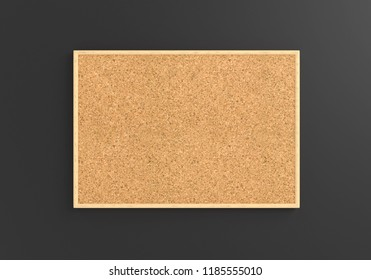 Empty cork board (noticeboard) on gray background. Mockup template - 3D