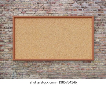 Empty cork board (noticeboard) on brick background. Mockup template - 3D rendering