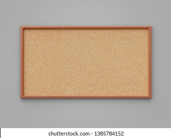Empty cork board (noticeboard) on gray background. Mockup template - 3D rendering