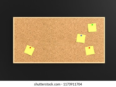 Empty cork board (noticeboard) with yellow sticky notes isolated on white. Mockup template - 3D rendering