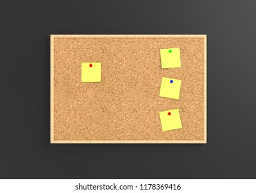 Empty cork board (noticeboard) with yellow sticky notes on gray background. Mockup template - 3D rendering