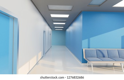 Empty Corridor by the Waiting Hall in a Hospital 3D Rendering