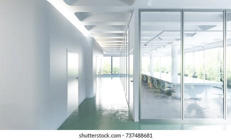 Empty corridor and meeting room interior - 3 d render