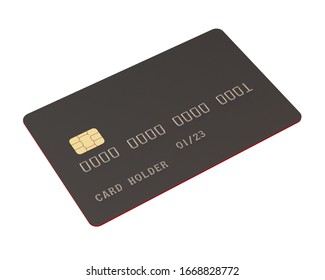 Empty Credit Card with Modern Titanium Surface Isolated on White Background. 3D Render.
