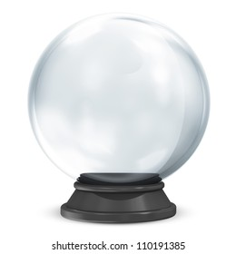 Empty Crystal Ball isolated on white background