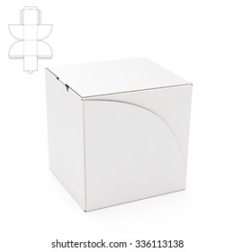Empty Cube Box with Die Cut Template