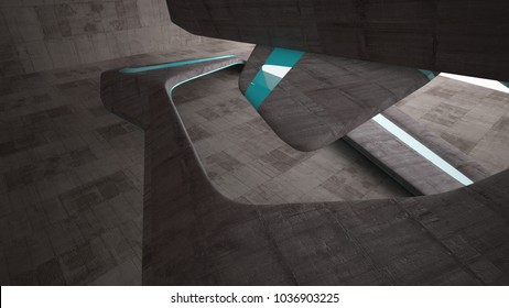 Empty dark abstract brown concrete room smooth interior. Architectural background.  3D illustration and rendering