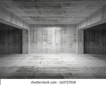 Empty dark abstract concrete room perspective interior. 3d illustration