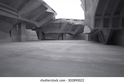 Empty dark abstract concrete room interior.3D illustration. 3D rendering