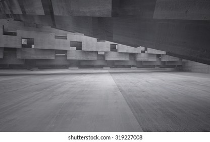 Empty dark abstract concrete room interior. 3D illustration. 3D rendering.
