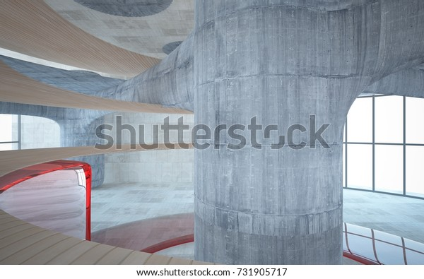 Empty dark abstract concrete smooth interior with red glass . Architectural background. 3D illustration and rendering