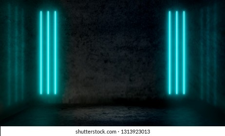 Empty dark abstract room with pastel blue fluorescent neon lights. Stage, scene and night club party concept background with copy space for text or product display.