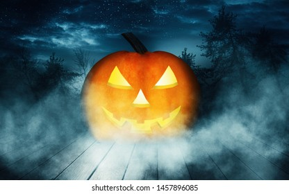 Empty dark background. The light of the moon in the forest, moonlight through the trees in the forest. Wooden countertop. Pumpkin, background halloween