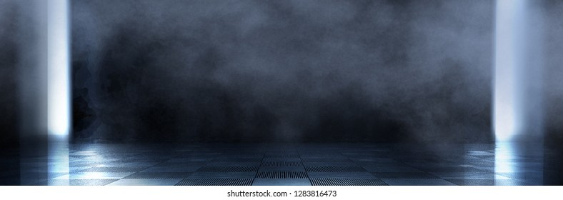 Empty dark room, cold dark background, smoke, smog, the light from the window falls to the floor. Dark blue gloomy background. Empty dark studio. 3D rendering