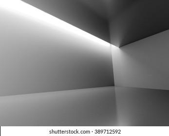 Empty Dark Room With Decorate Lights. Interior Background. 3d Render Illustration