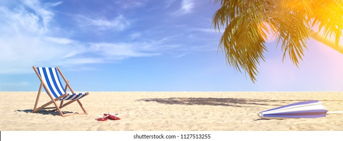 Empty deck chair next to a palm tree at the beach during a summer vacation in the Caribbean (3d rendering)