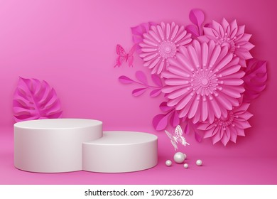 Empty display with flower for presentation 3d rendering.