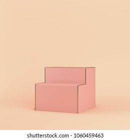 Empty display stand on bright background in pastel colors with copy space. 3d rendering