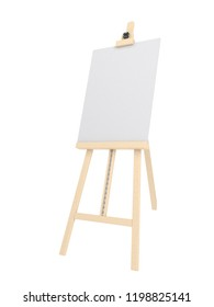 Empty easel with empty canvas or whiteboard (magnetic board) isolated on white. Mockup template - 3D rendering