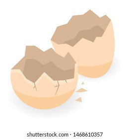 Empty eggshell icon. Isometric of empty eggshell icon for web design isolated on white background