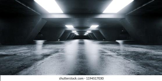 Empty Elegant Modern Grunge Dark Refletcions Concrete Underground Tunnel Room With Bright White Lights Background Wallpaper 3D Rendering Illustration