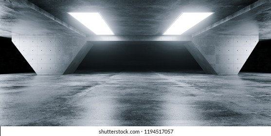 Empty Elegant Modern Grunge Dark Refletcions Concrete Underground Tunnel Room With Bright White Lights Background Wallpaper 3D Rendering Illustration