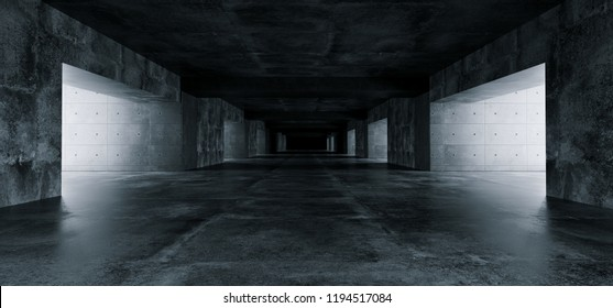 Empty Elegant Modern Grunge Dark Reflections Concrete Underground Tunnel Room With Bright White Lights Background Wallpaper 3D Rendering Illustration