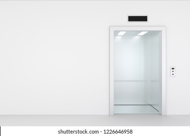 Empty elevator hall interior with waiting lift and grey walls. 3d rendering.