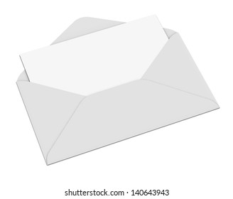 Empty envelope and letter.