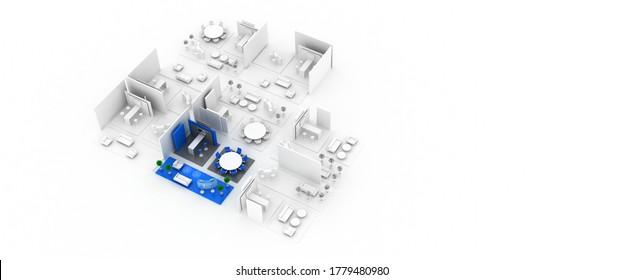 Empty exhibition booth, copy space illustration, original design 3d rendering