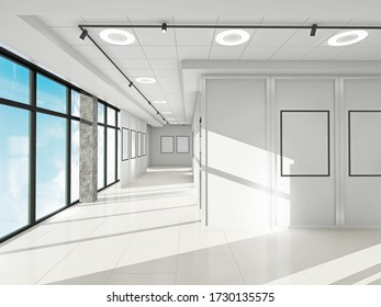 Empty exhibition cente for exhibition picture or stands.3d render.