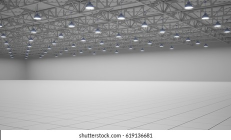 Empty exhibition center. backdrop for exhibition stands. tile flooring. marketing mock up. 3d render