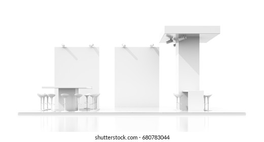 Empty exhibition kiosk, with copy space. Original 3d rendering project
